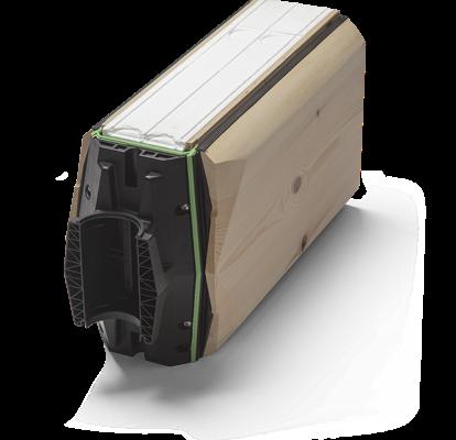 LOXIT® Isolaft – gir vakre bygg med et laftet uttrykk. Hver stokk er 320 mm høy